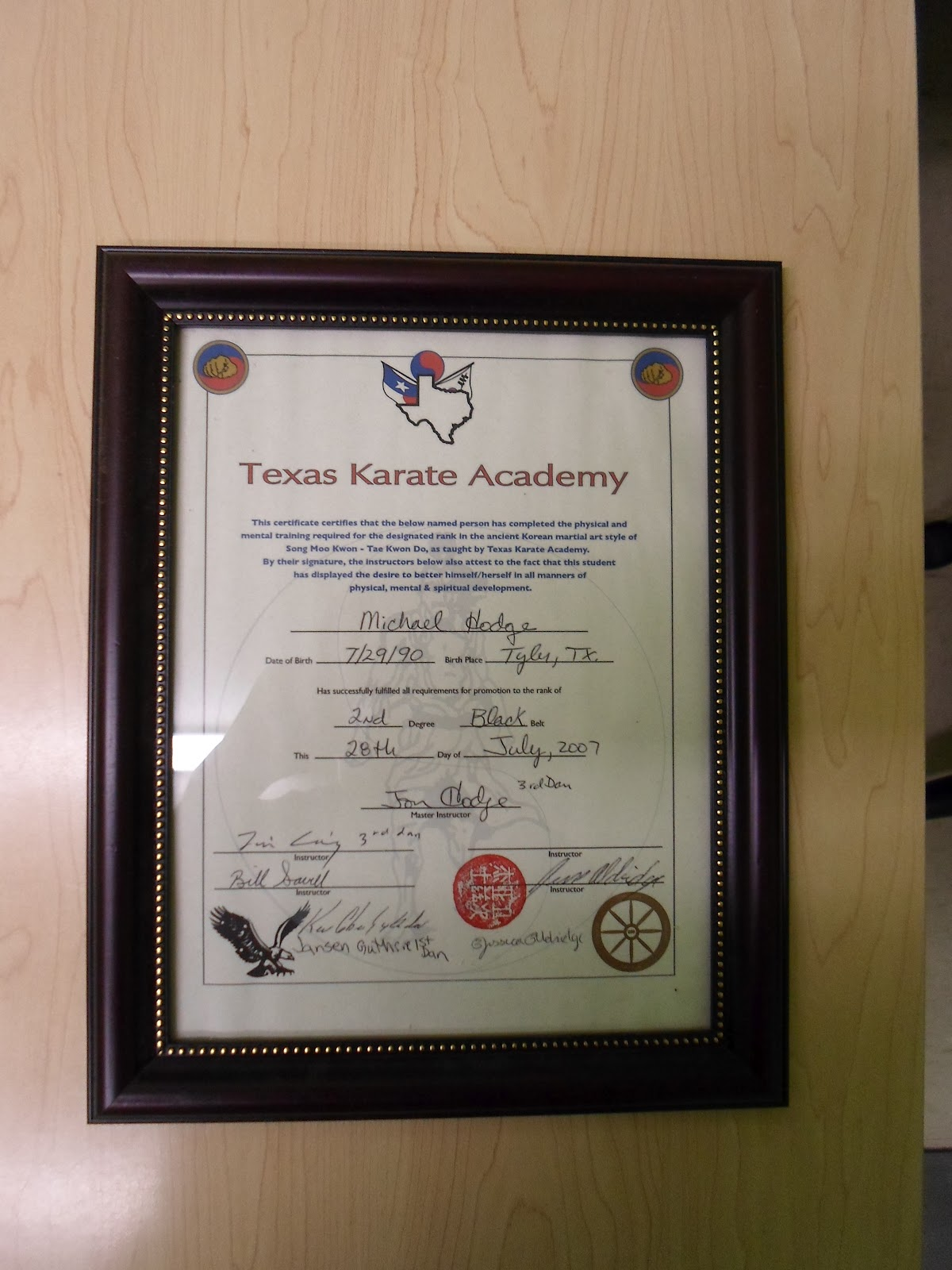 I had my old 2nd Black Belt Certificate Handy. This is an example of a TTKDF certificate of authenticity.